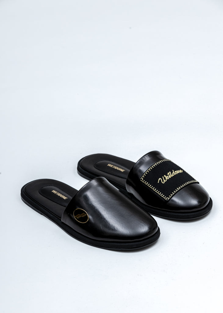 Black Leather Logo Wappen Mules