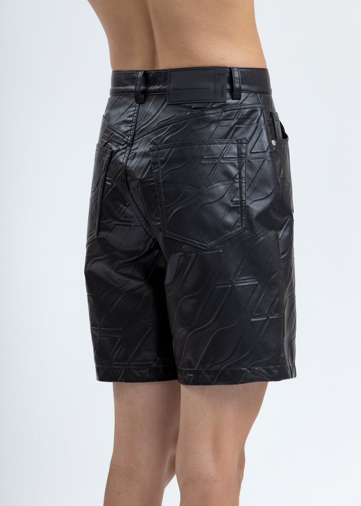 Black Logo Embossed Faux Leather Shorts
