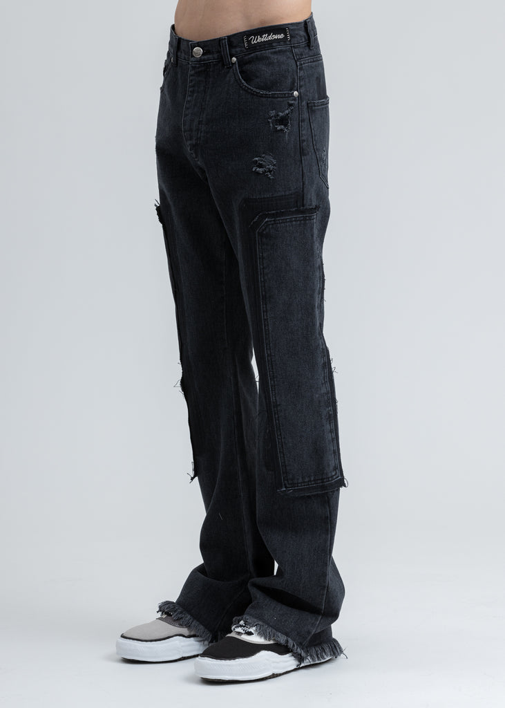 Black Washed Patch Work Jeans