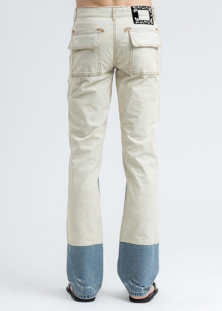 Blue Damage Washed Patch Work Denim Jeans