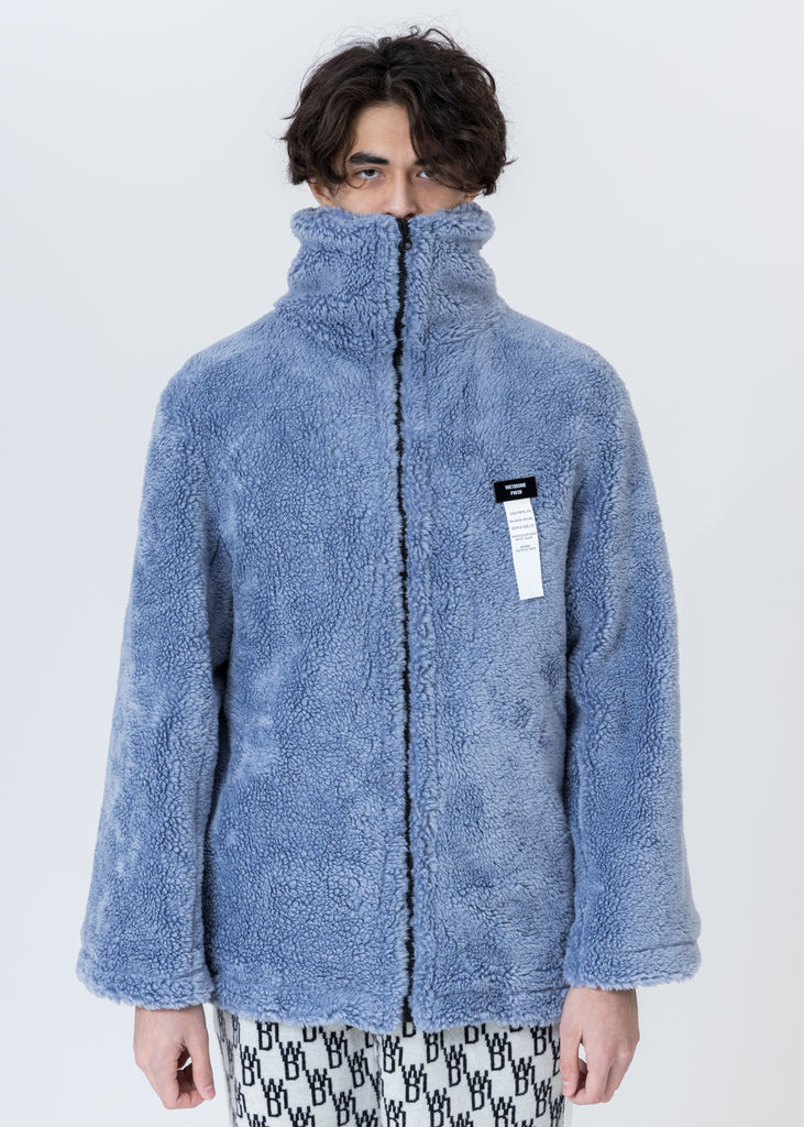 Blue Faux Fur Jumper With Pin