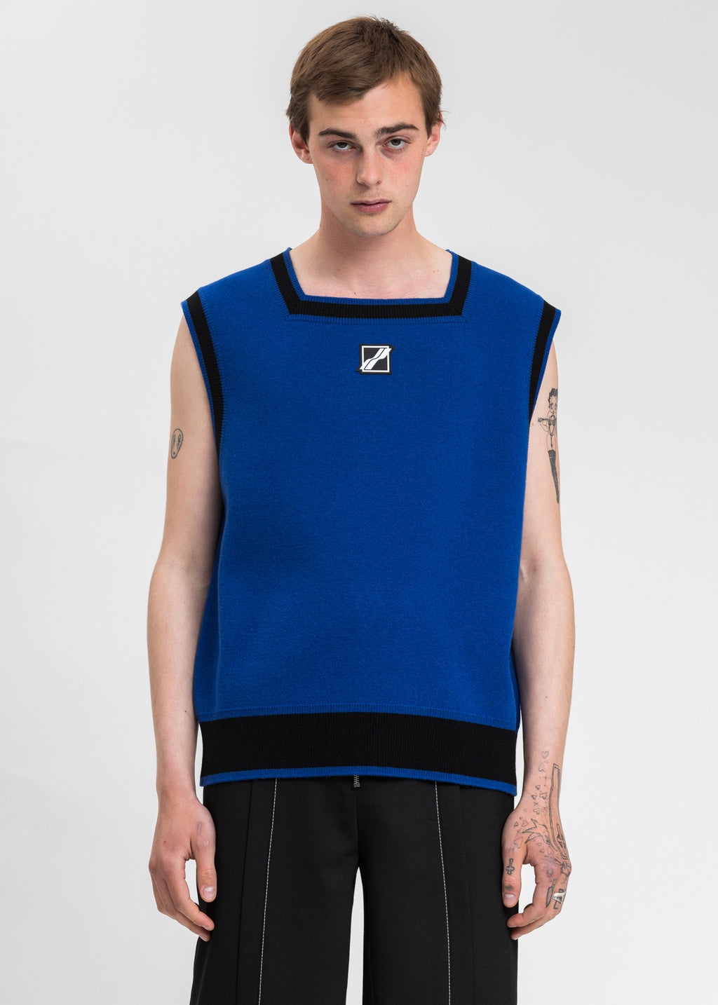Blue Logo Patched Square Neck Vest