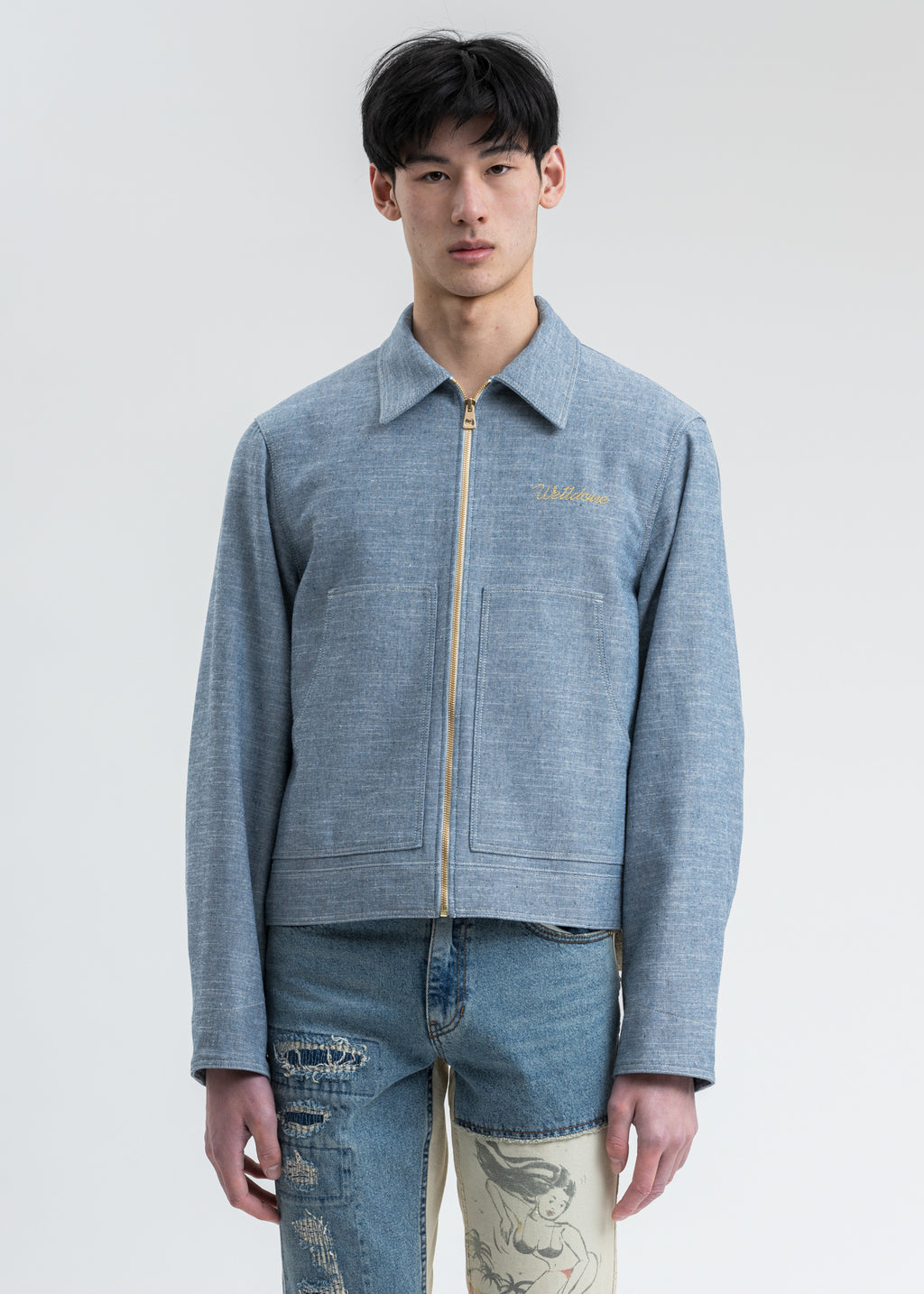 Blue Printed Linen Work Jacket