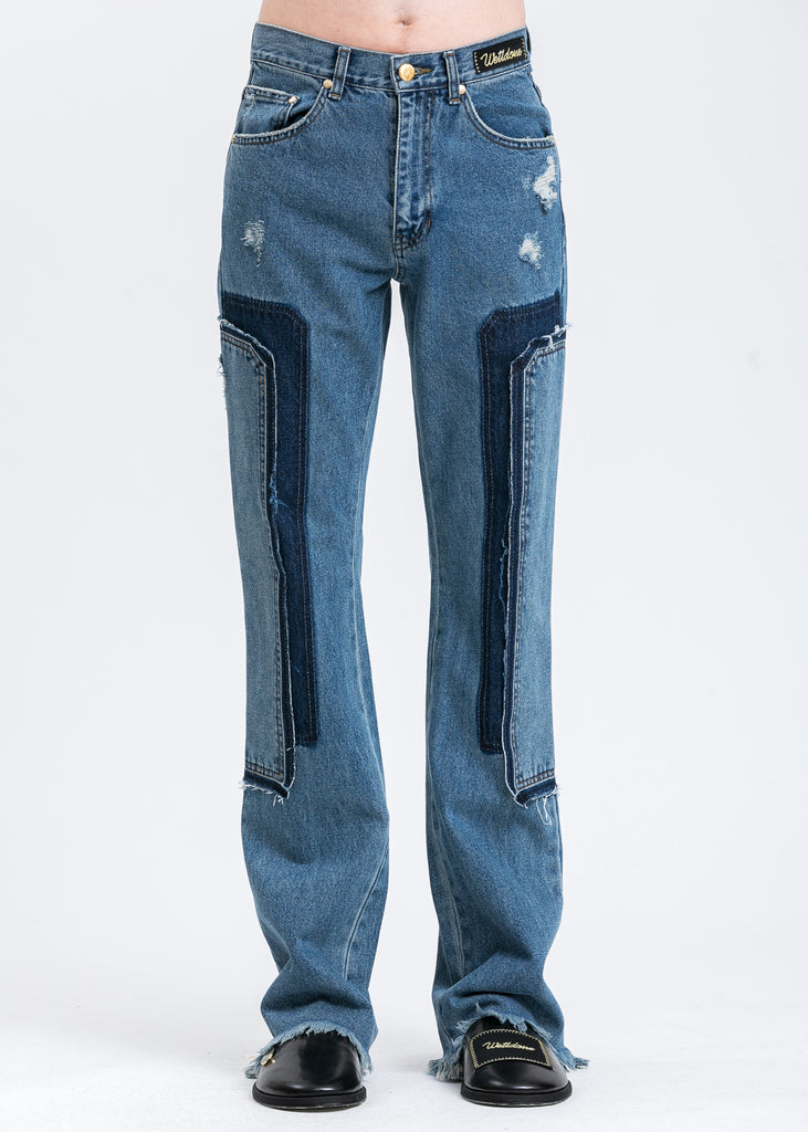 Blue  Washed Patch Work Jeans