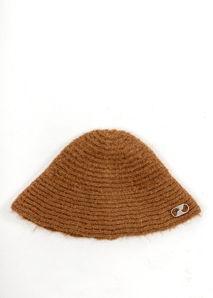 Brown Embroidered Metal Logo Narrow Bucket Hat