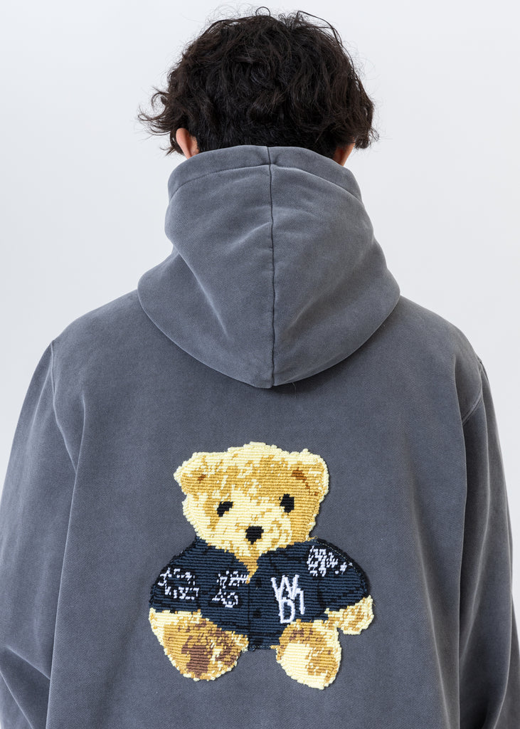 Charcoal Embroidered Teddy Zip-Up Hoodie