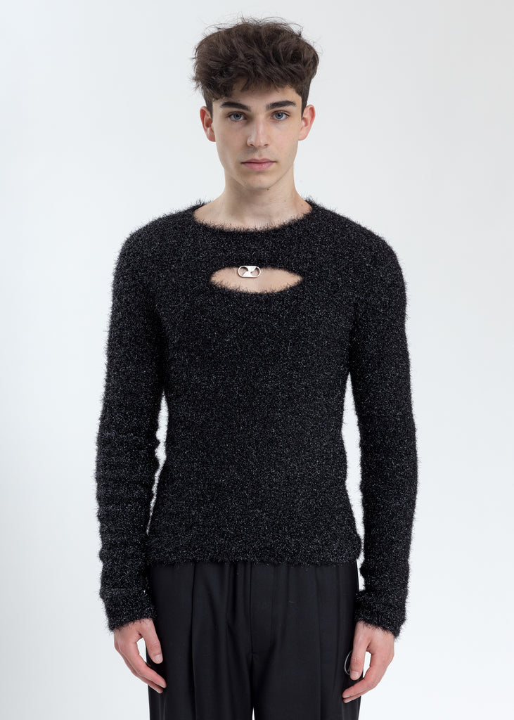 Glitter Black Front Hole Knit