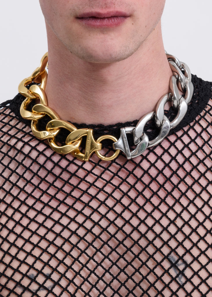Gold And Silver Mix Bold Chain Necklace