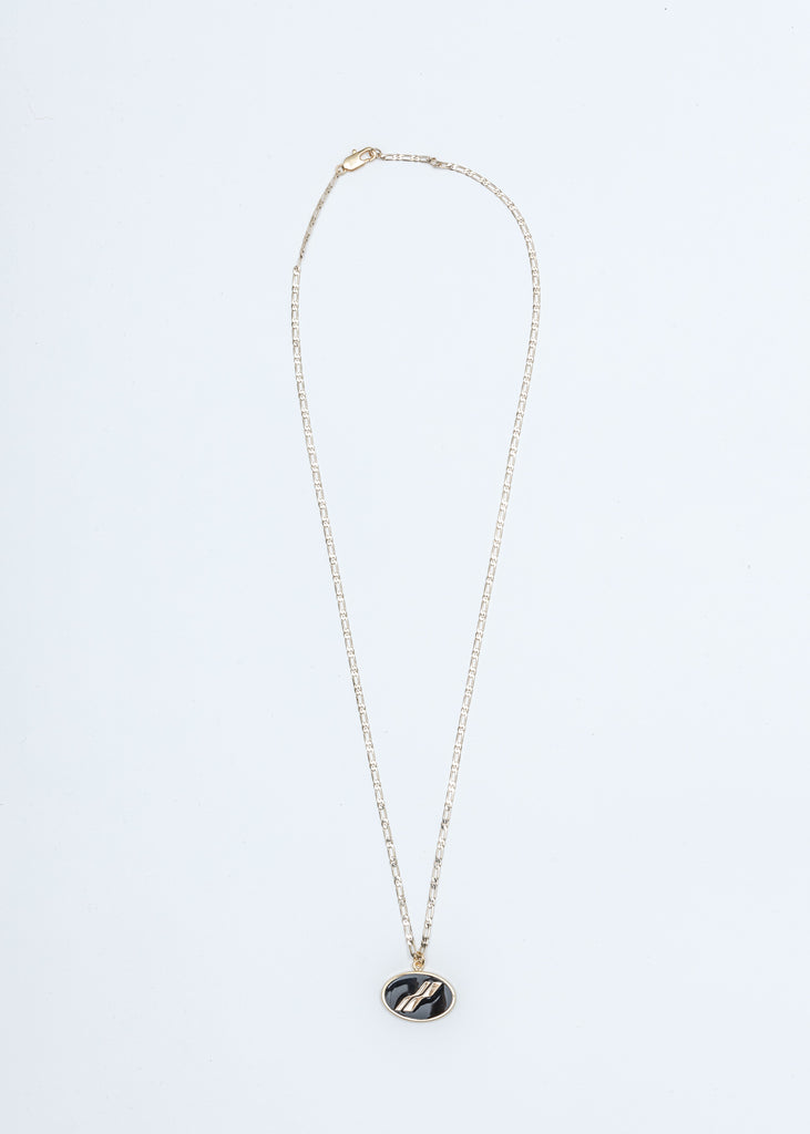 Gold and Black Oval Logo Necklace