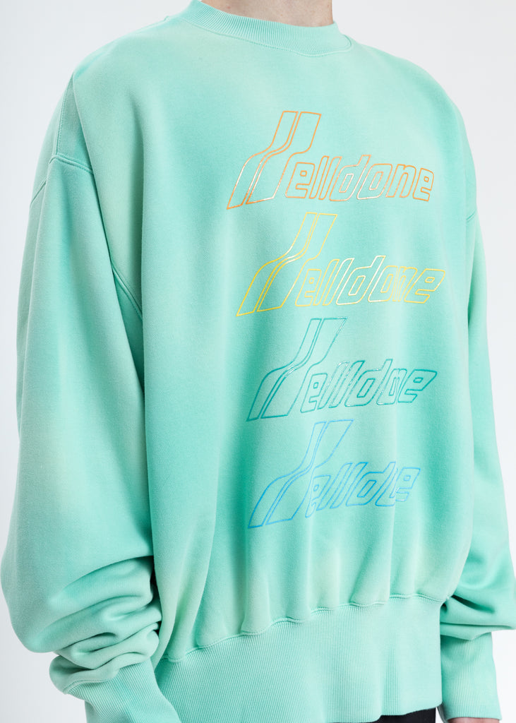 Green Hand Bleached Iridescent Logo Sweater