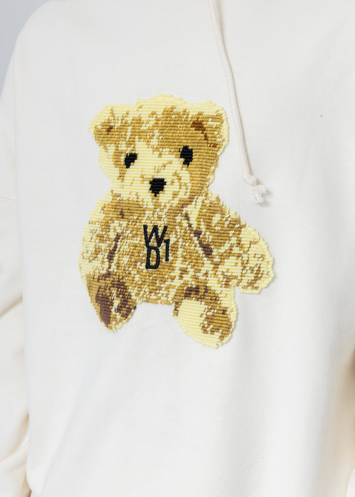 Ivory Embroidered Teddy Hoodie