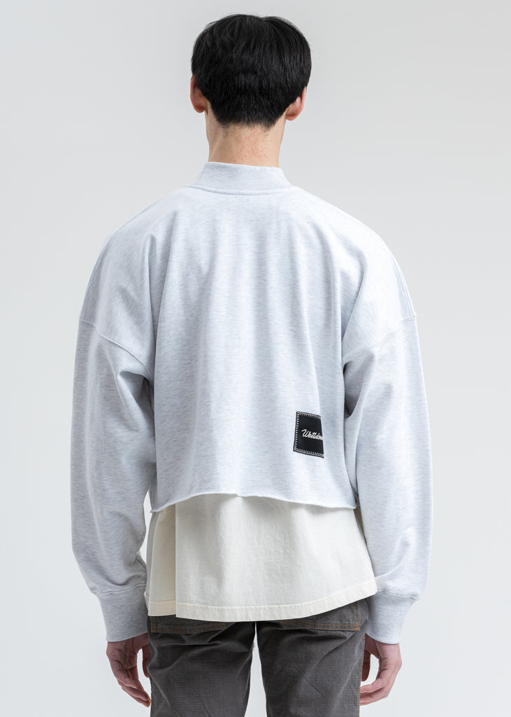 Melange Grey Smiley Raw Edge Sweatshirt