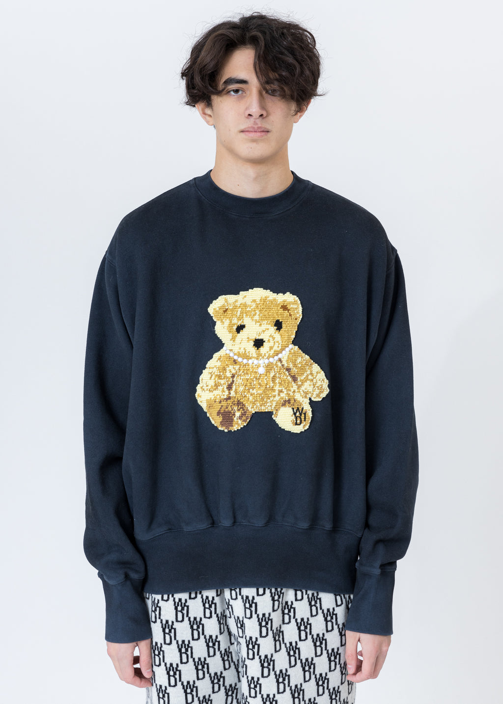 Navy Embroidered Teddy Sweater