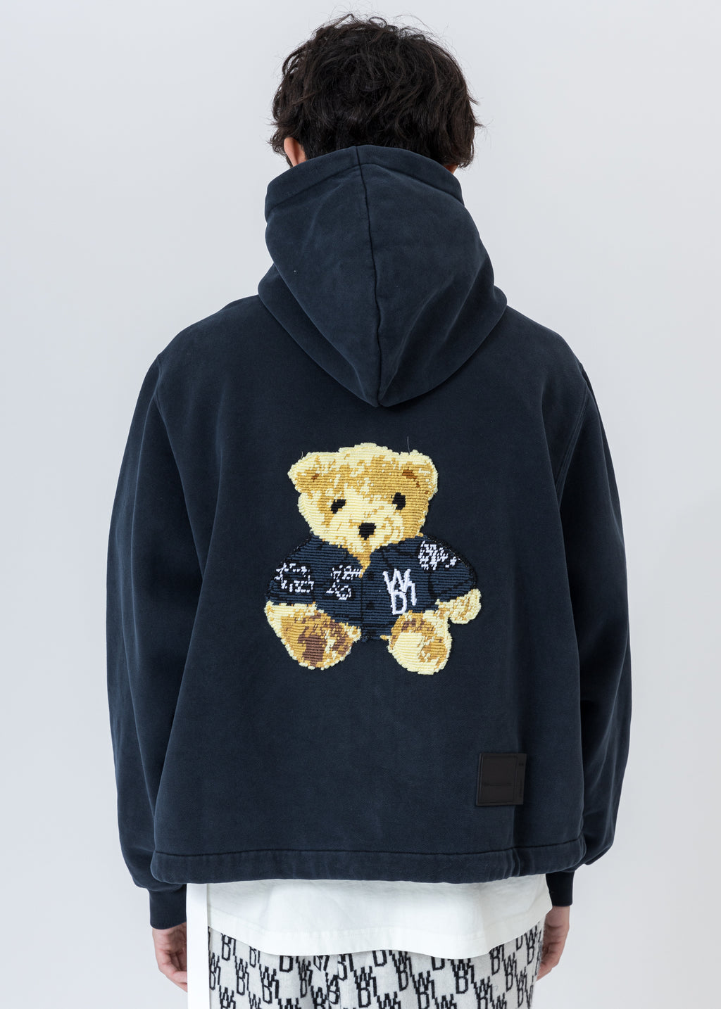 Navy Embroidered Teddy Zip-Up Hoodie