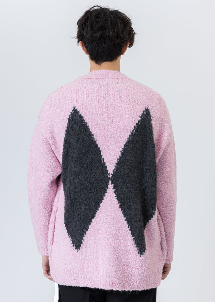 Pink Argyle Knit Cardigan