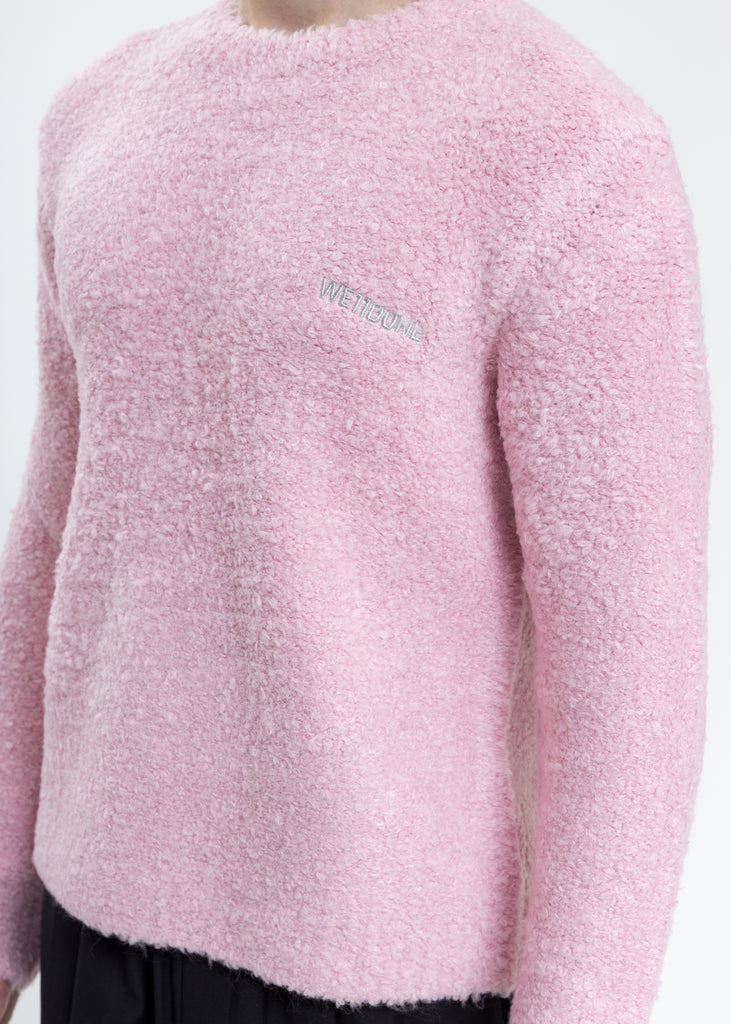 Pink Boucle Knit Sweater