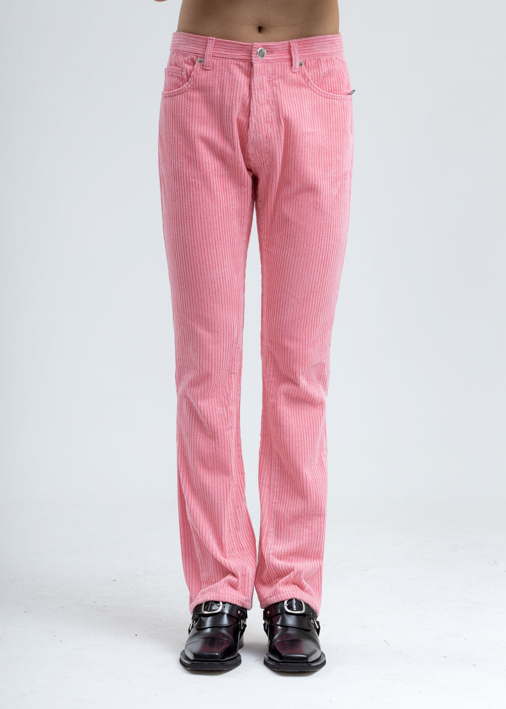 Pink Corduroy Embossed Semi-Boots Cut Trouser