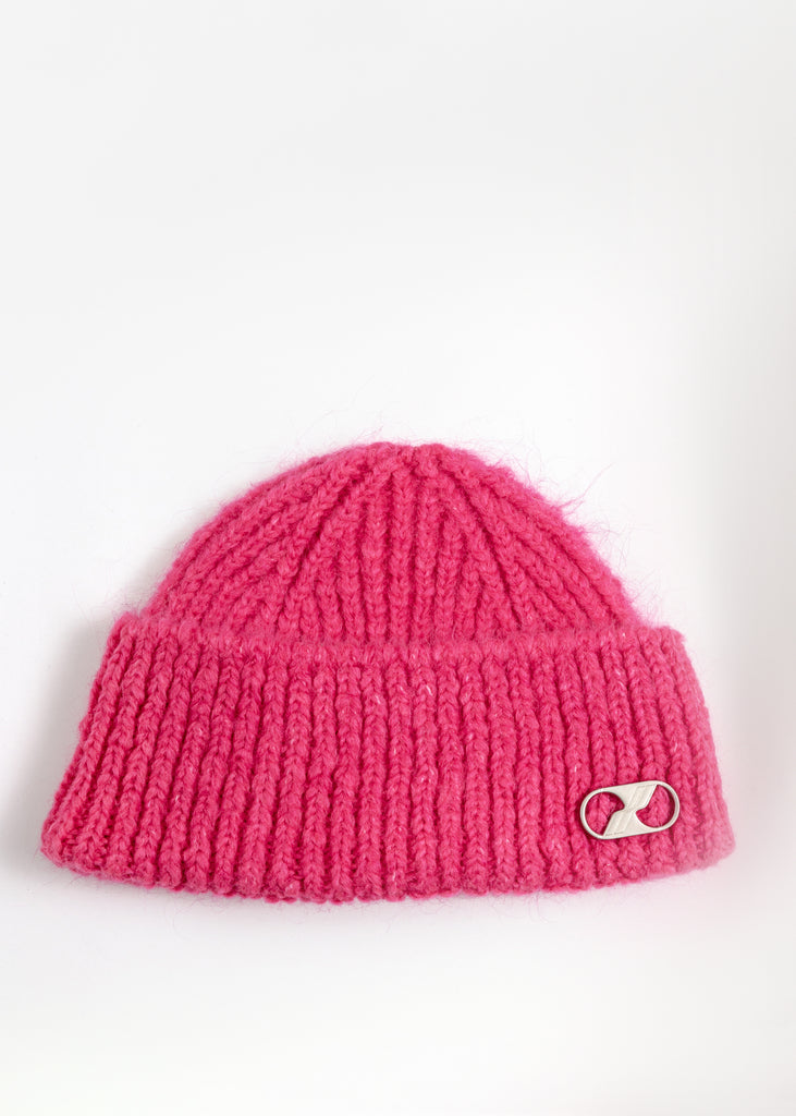 Pink Embroidered Metal Logo Short Beanie