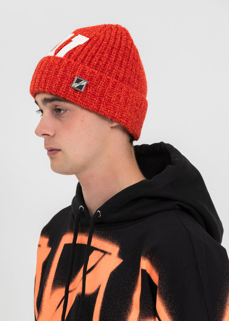 Red Logo Leather Patch Embroidered Beanie