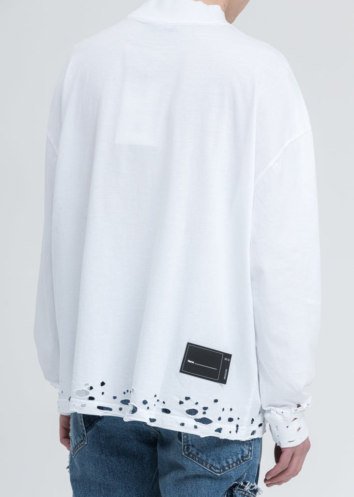 White High Neck WD Stamp Logo Long Sleeves