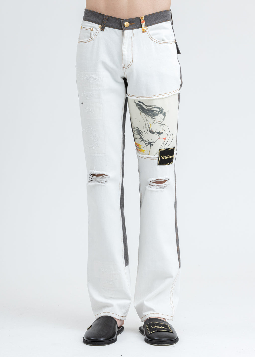 White Damage Washed Patch Work Denim Jeans