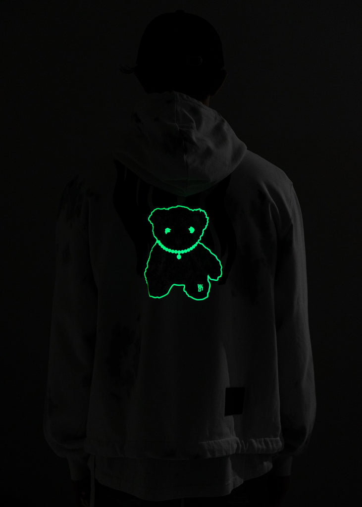 White Glow In The Dark Teddy Zip-Up Hoodie