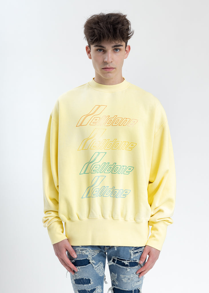 Yellow Hand Bleached Iridescent Logo Sweater