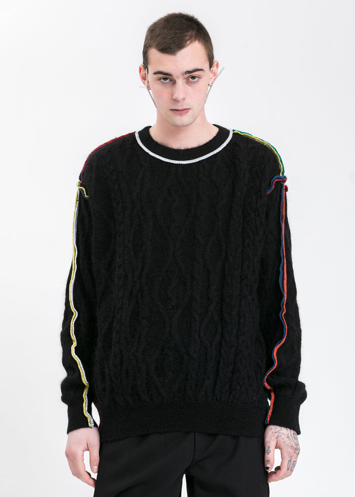 Black Braid Overlock Sweater