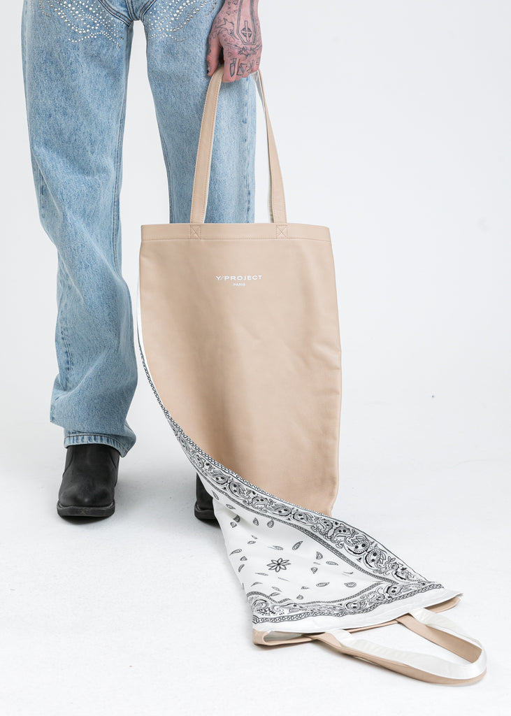 Cream And White Scarf Print Tote Bag