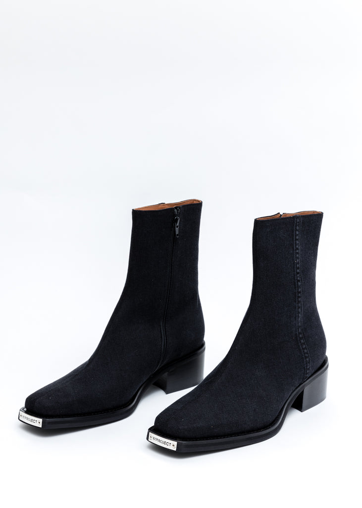 Black Denim Fitted Boots