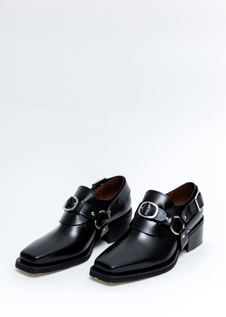 Black Leather Buckle Loafers