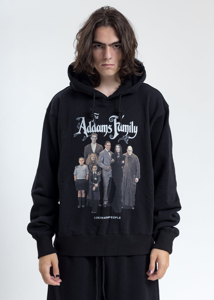 Black Addam's Family Photo Print Hoodie
