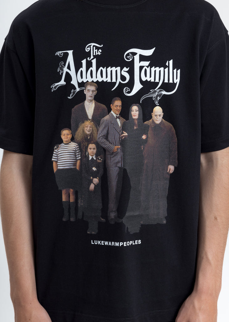 Black Addam's Family Photo Print Tee