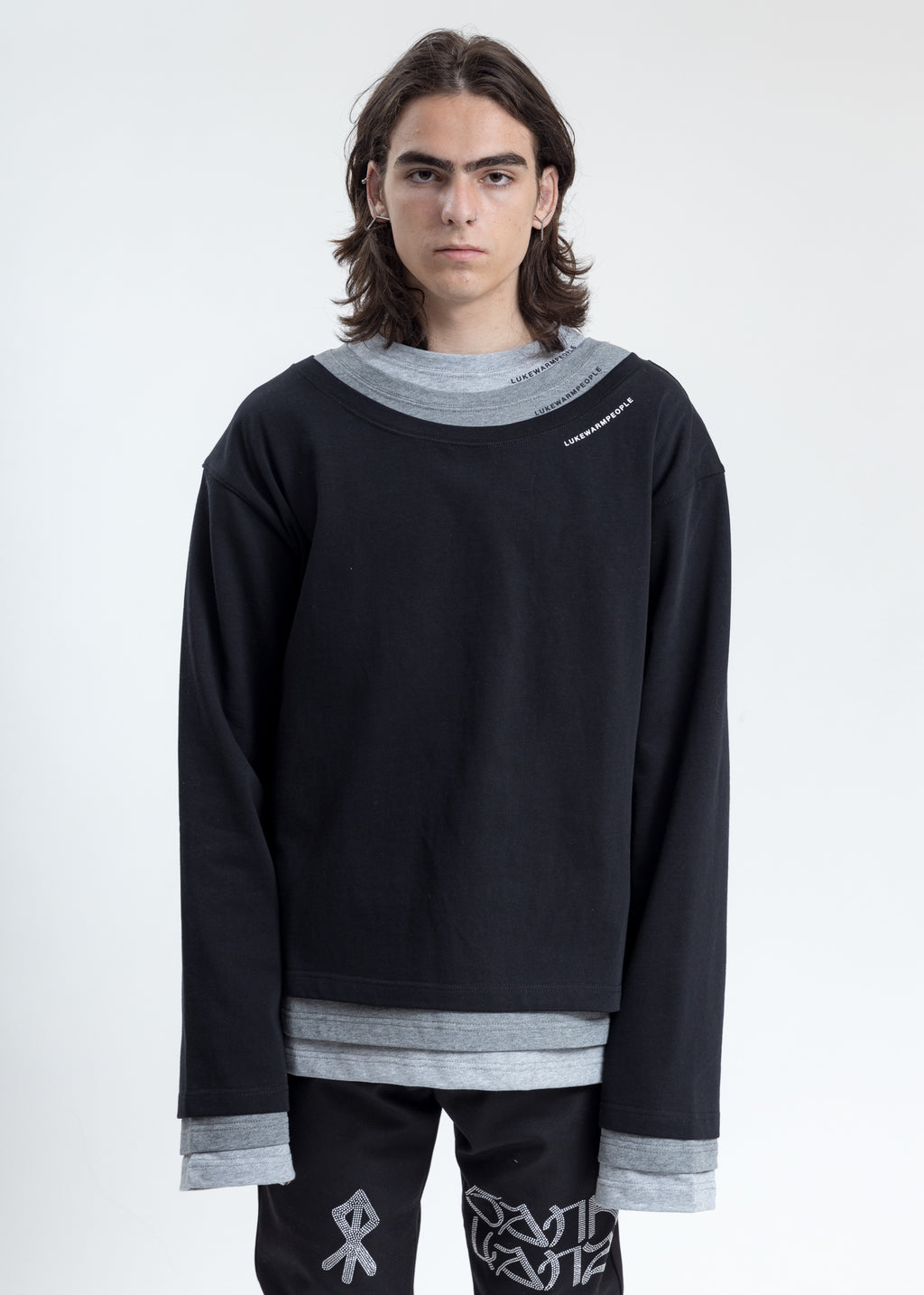 Black Triple Layer Crewneck