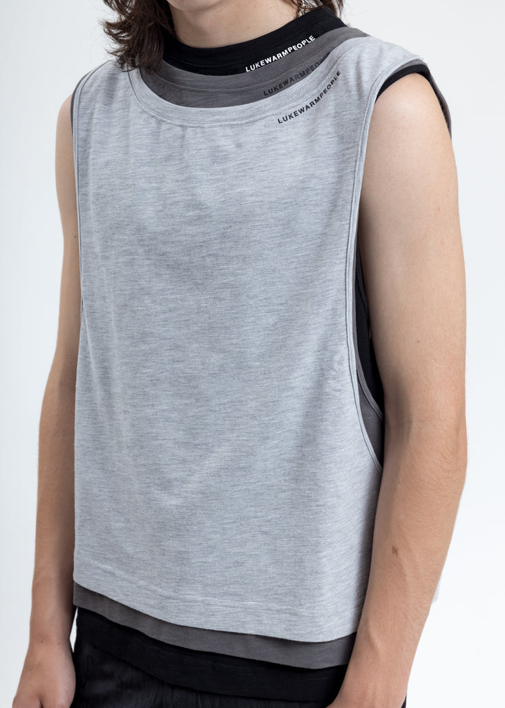 Grey Triple Layer Muscle Tee