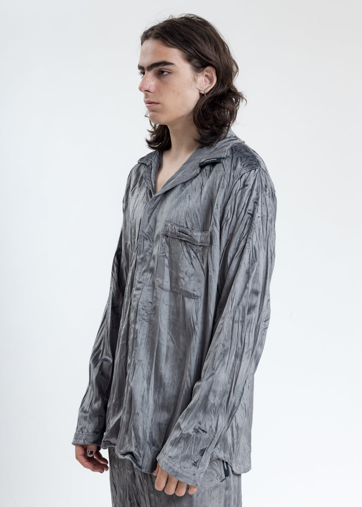 Grey Velvet Pajama Shirt