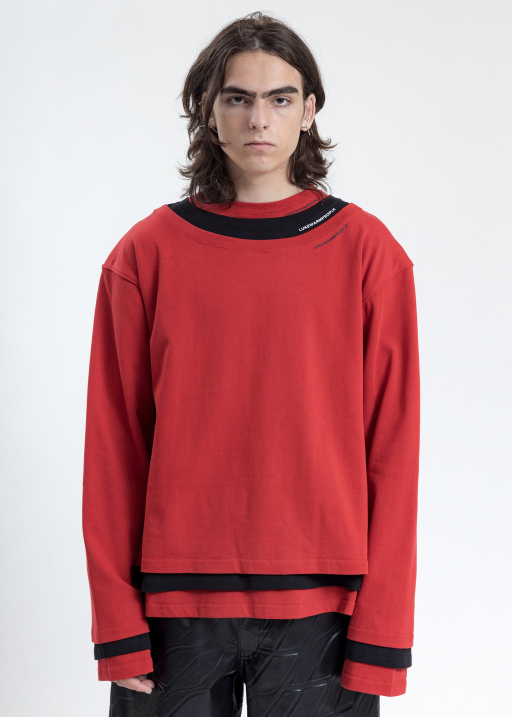 Red Triple Layer Crewneck