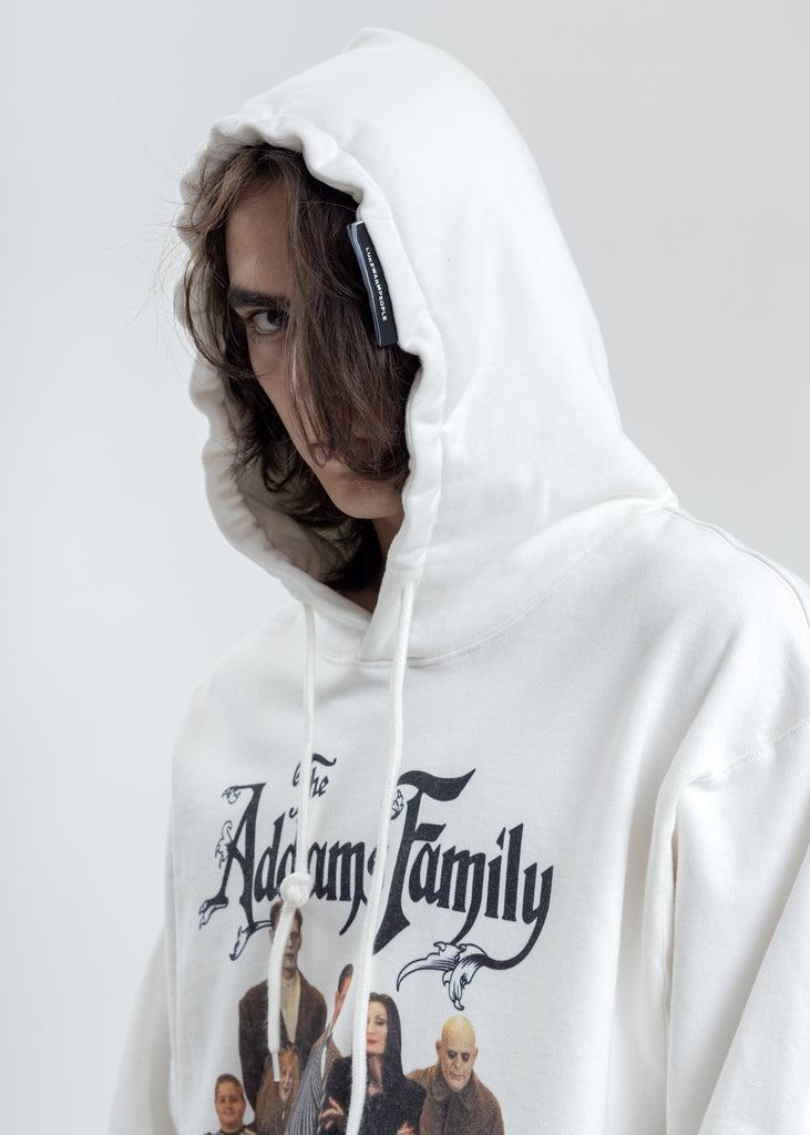 White Addam's Family Photo Print Hoodie