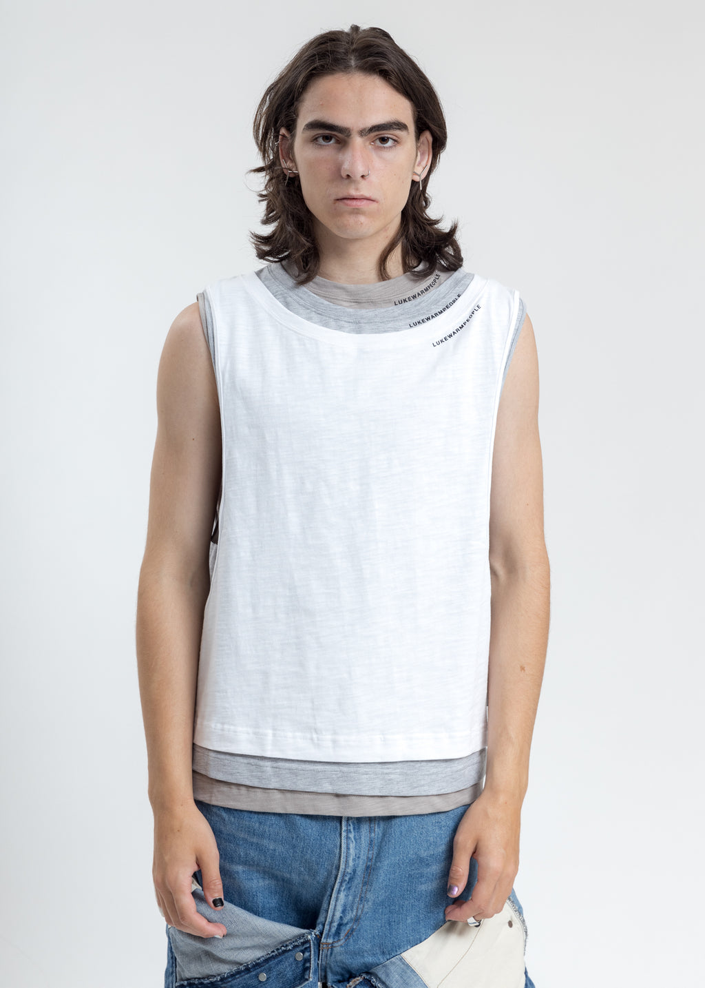 White Triple Layer Muscle Tee