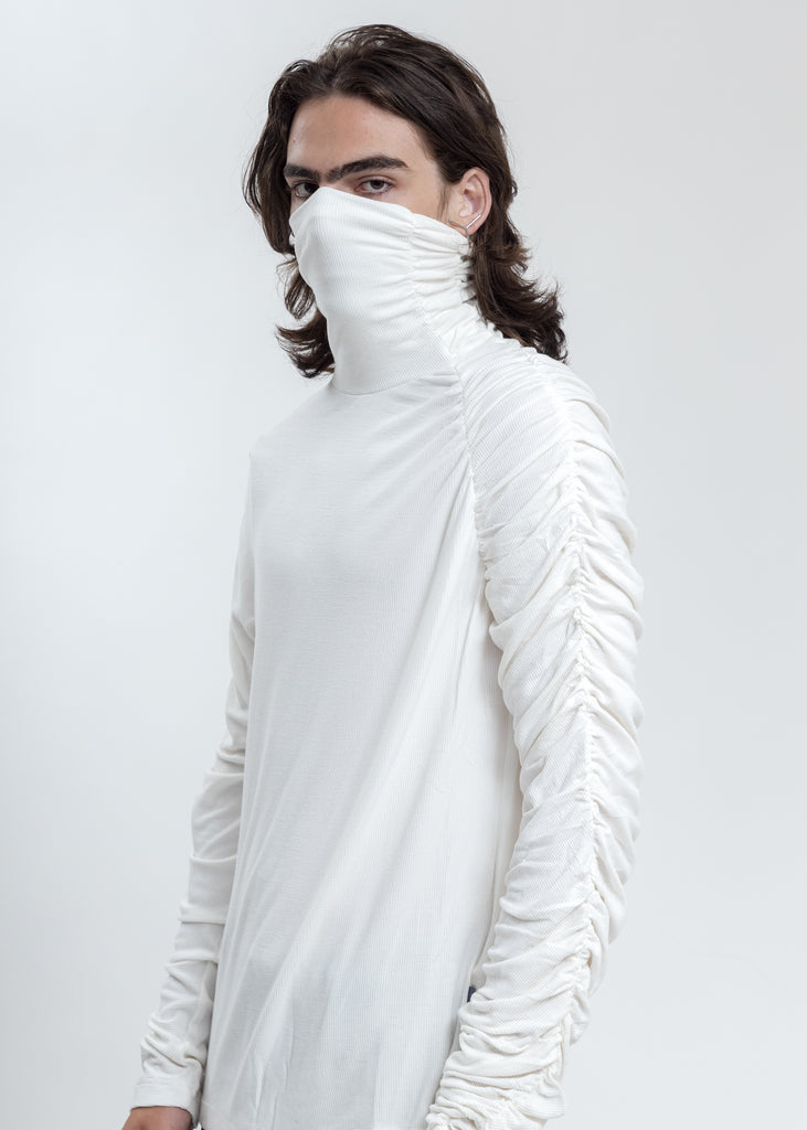 White Twisted Turtleneck