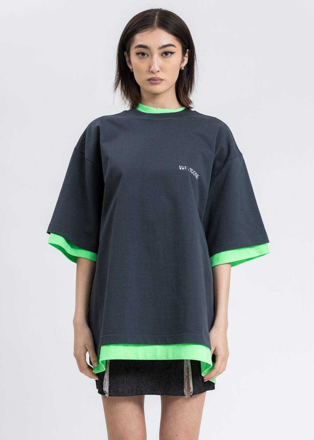 Charcoal And Neon Green Reversible Gig T-shirt