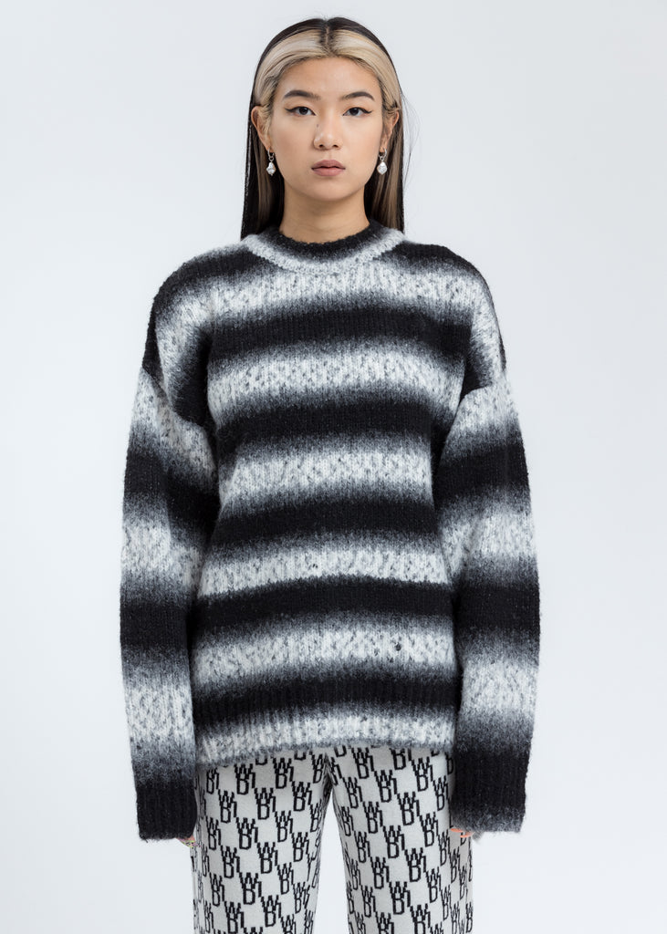 Black Gradation Stripe Knit Sweater