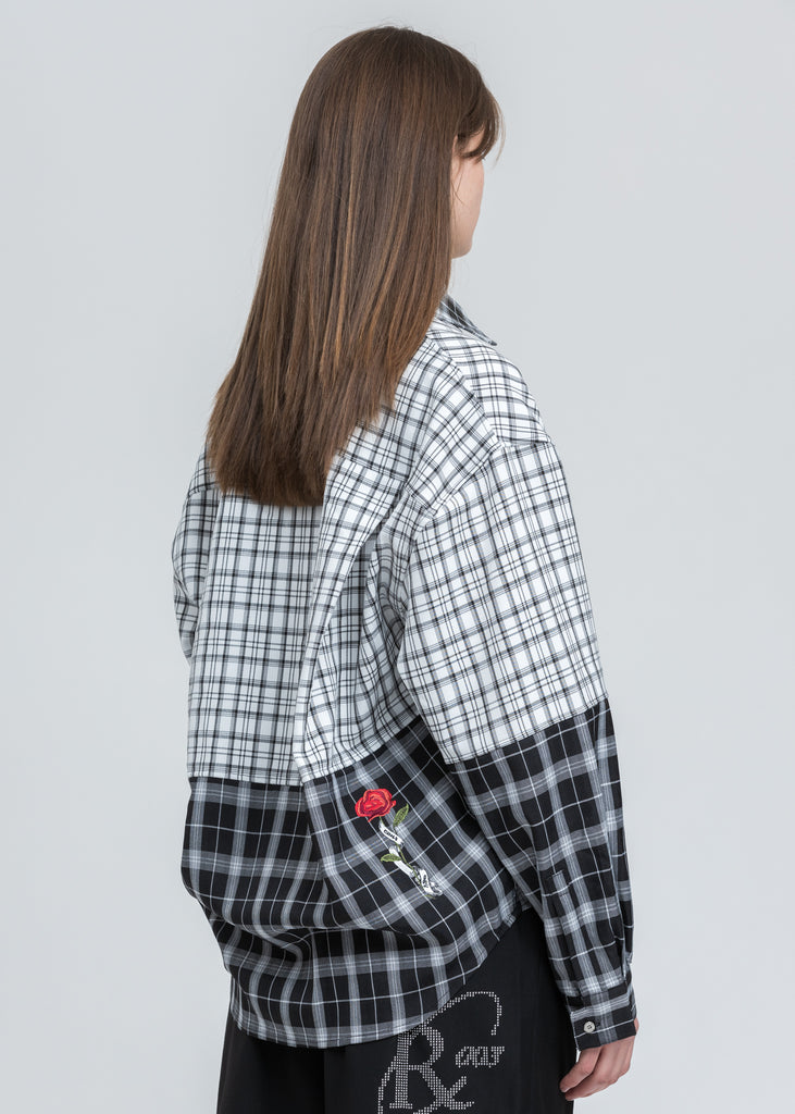 Black And White Check Panelled Loose Shirt