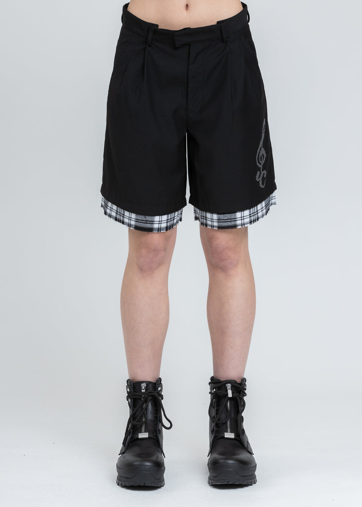 Black Distressed Layered Sequin Tailored Shorts