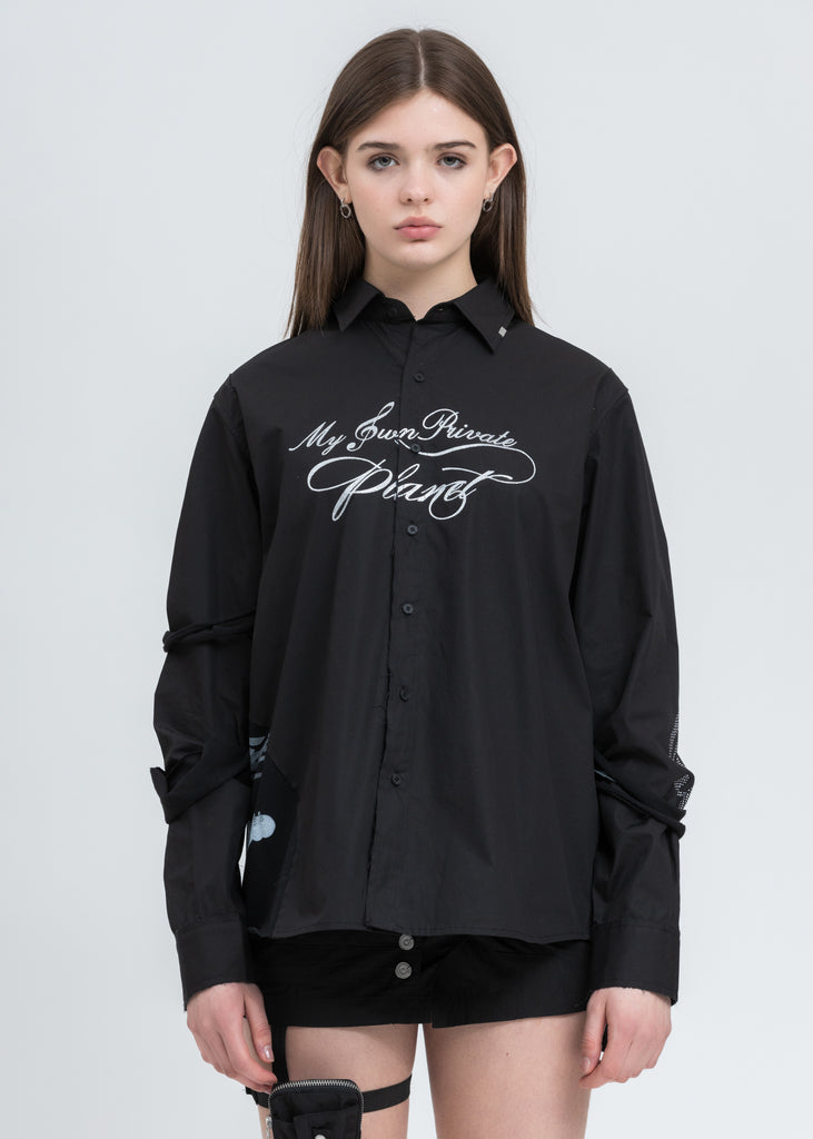 Black Distressed Panelled Grunge Shirt