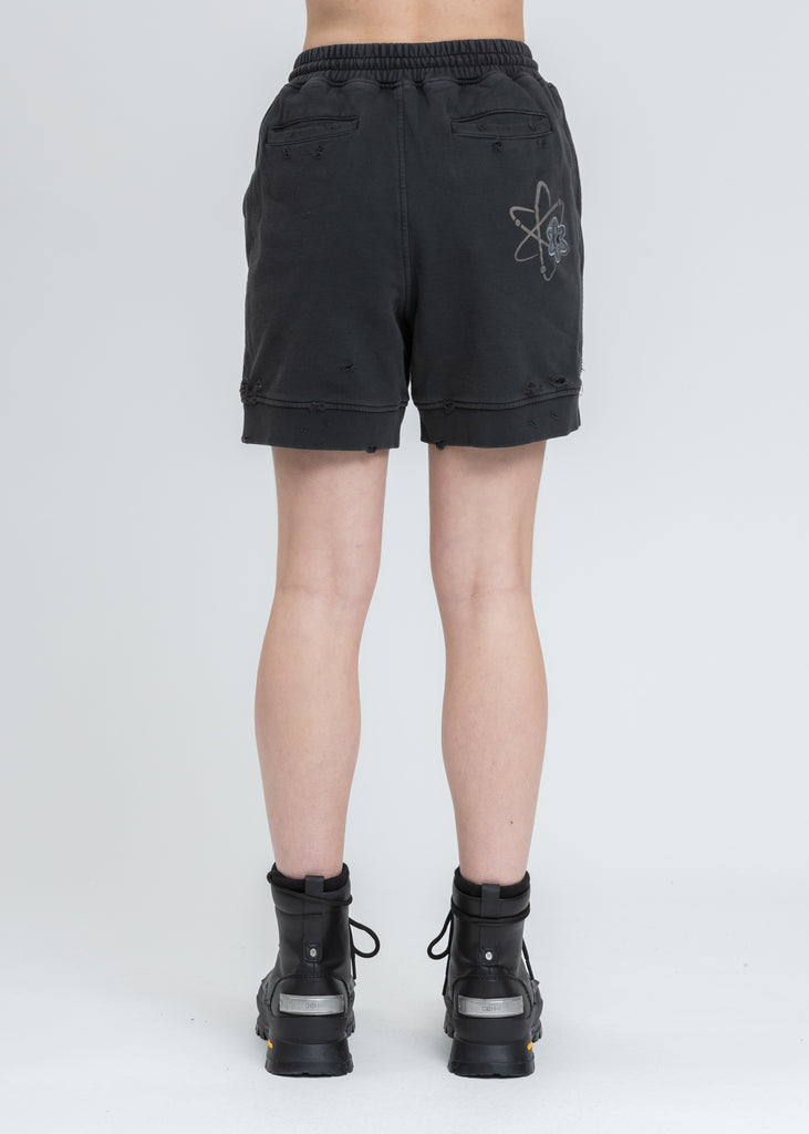 Black Patched Ruin Distressed Sweat Shorts