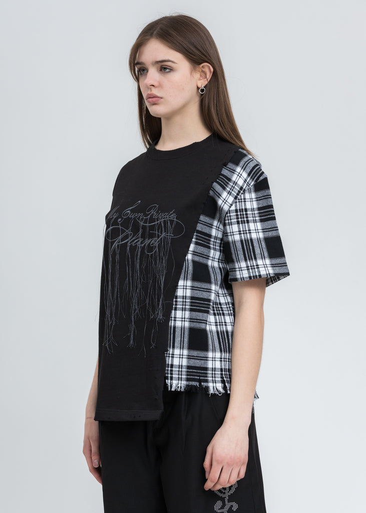 "Black ""My Own Private Planet"" Panelled T-Shirt"