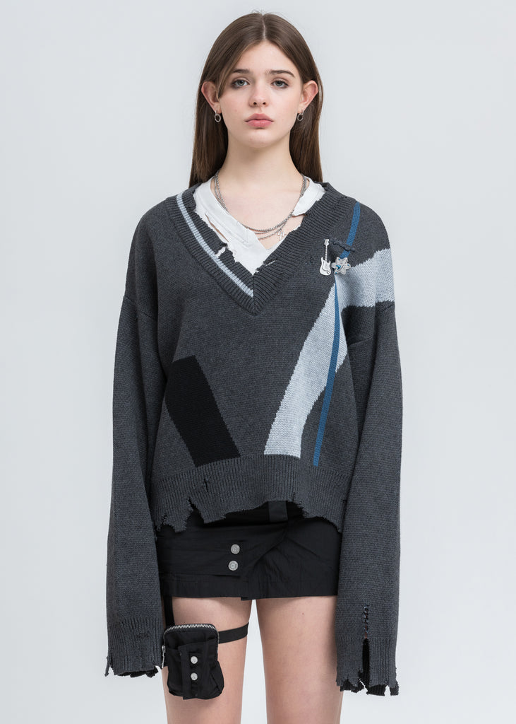 Grey Distressed Geometry Knit Layered Sweater