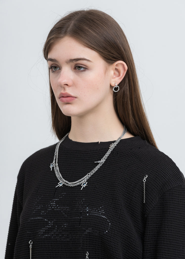 Silver Multi Chain Logo Necklace