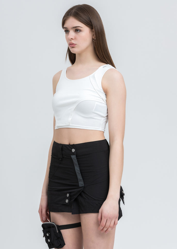 White Asymmetrical Arc Layered Tank Top